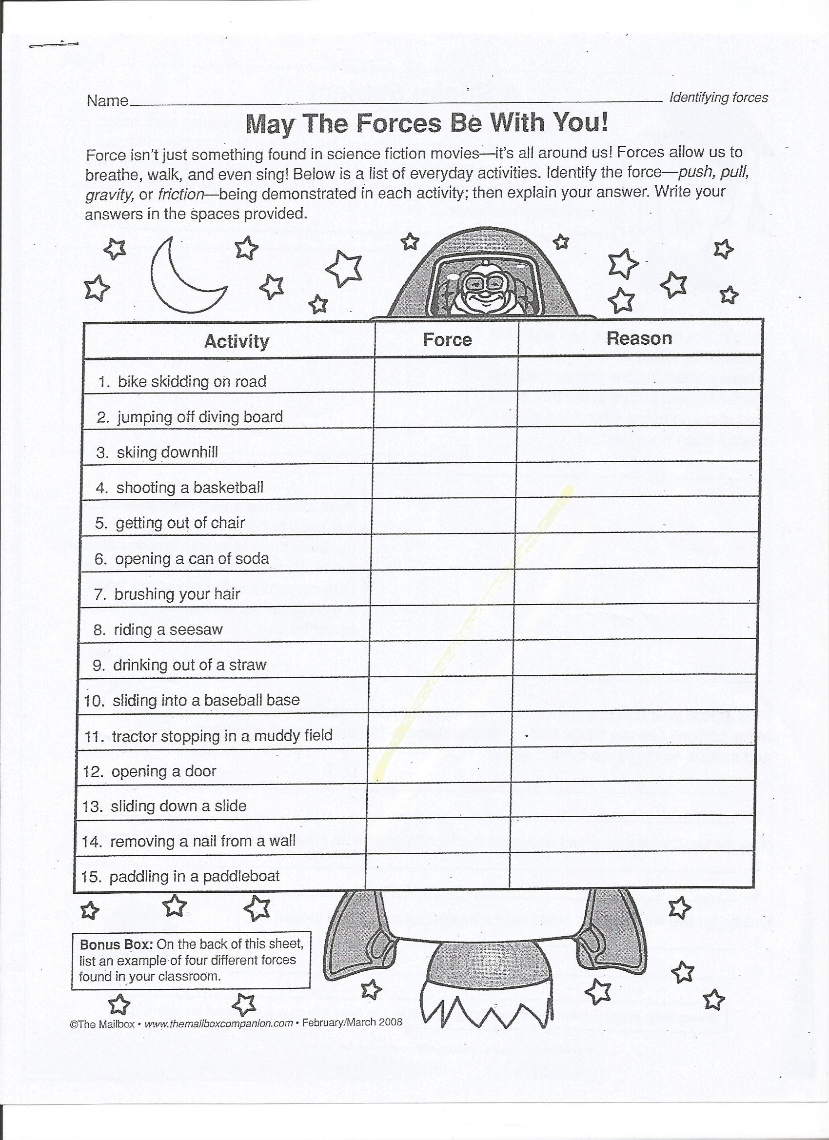 Force and Motion Mrs Wells Class – Motion Worksheet