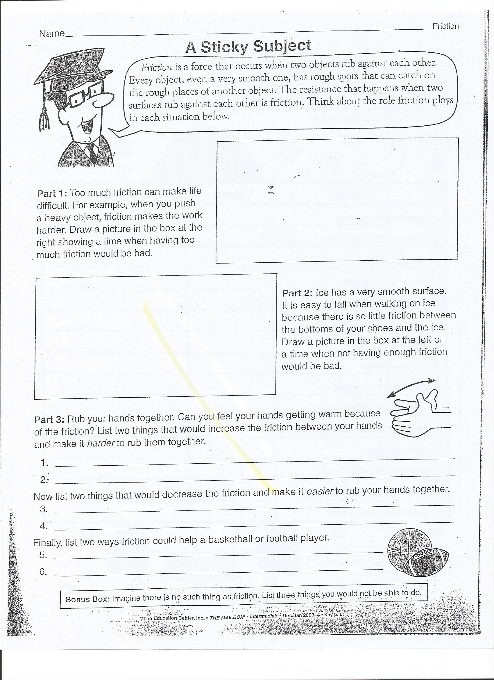 Friction Worksheets humorholics – Friction Worksheet