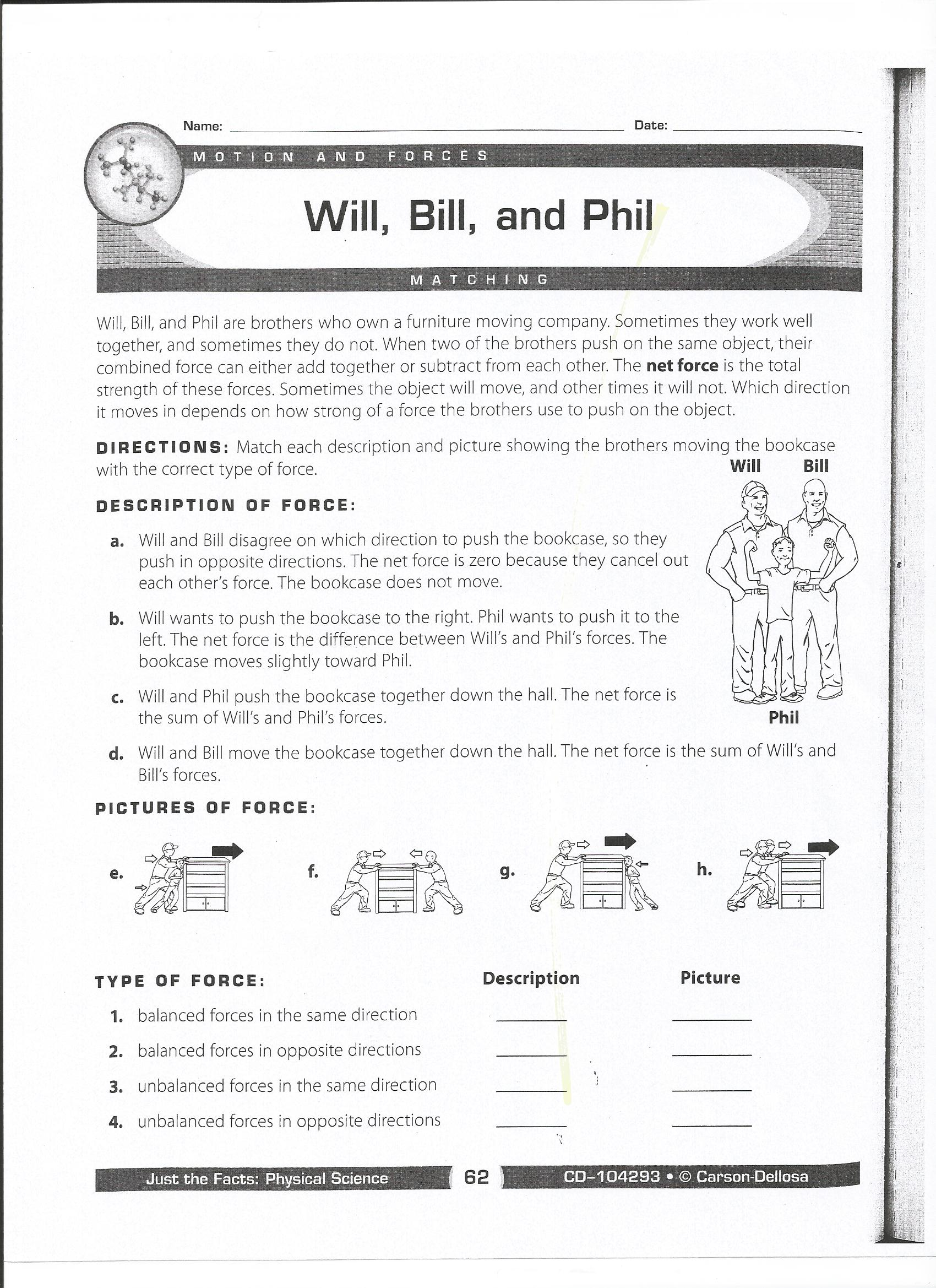 Printables Force And Motion Worksheets force and motion mrs wells class balanced forces